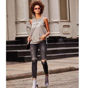 Current/Elliott Stiletto Black Distressed Jeans